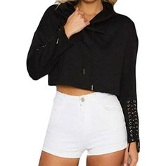 443de1d4c4b Womens Casual Solid Long Sleeve Bandage Crop Pullover Sweatshirts -- Check  this awesome product by going to the link at the image.