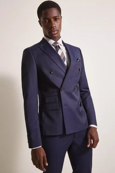 Moss London Slim Fit Ink Stretch Double Breasted Suit
