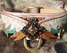 Wing Hand Tooled Leather Dog Collar Purple/ Dark by FinelyTooled