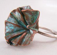 Fold formed Flower Bud Ring verdigris patina by CynthiaDelGiudice, $55.00