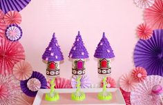 Love these push pops at a Tangled Inspired Party with Lots of Super Cute Ideas via Kara's Party Ideas | KarasPartyIdeas.com #Rapunzel #Party #Ideas #Supplies #tangledparty #pushpops