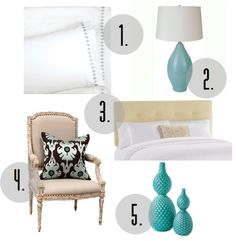 crisp white walls, bedding, and curtains with colorful accessories, including an aqua lamp and apple-green vintage armchairs.
