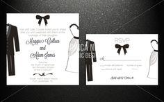 Printable Elegant Black & White Wedding Invitation