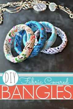 ***DIY Fabric Covered Bangles*** Here is another super easy Dollar Store Craft- DIY Fabric Covered Bangles! I made each bracelet for about $1 each! I found the plastic bangles at my local Dollar Tree for $1 each. You will need 2-3 strips of scrap fabric and ModPodge. (I have seen small bottles at The Dollar Tree.) #DIY #Fashion #crafts