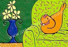 Granny the hen on the couch Hens, Kids Rugs, Couch, Projects, Home Decor, Art, Log Projects, Art Background, Settee