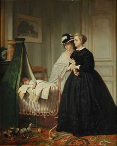 Two unknown ladies at a cradle, painting by J.C. Mertz, 1863.