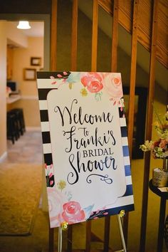 Kate spade inspired bridal shower welcome sign. #katespade #welcomesign #bridalshower