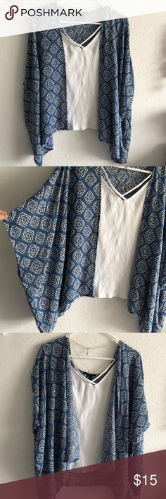 Blue kimono Bearly worn Forever 21 Sweaters Cardigans