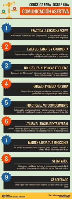 9 consejos para crear una Comunicación Asertiva #infografia