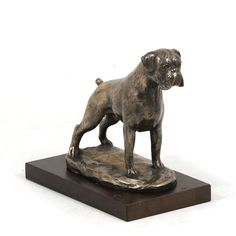 Boxer uncropped dog wooden base statue limited by ArtDogshopcenter