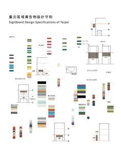 水越設計 於 2016 與臺北市政府合作,針對區域廣告物進行城市景觀整合推廣計畫,透過區域分析與設計規劃建議,製作容易理解的設計守則手冊,利於國人了解廣告物之於城市景觀之間的關係。 Sign Board Design, Floor Plans, Diagram, Pattern, Patterns, Model, Floor Plan Drawing, House Floor Plans, Swatch