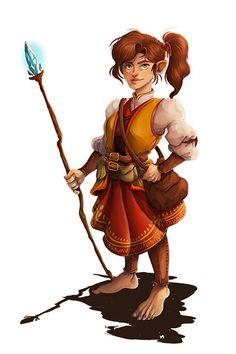 f Halfling Sorcerer Staff traveler Fantasy Races, Fantasy Warrior, Fantasy Rpg, Medieval Fantasy, Dnd Characters, Fantasy Characters, Female Characters, Fantasy Figures, Fantasy Character Design