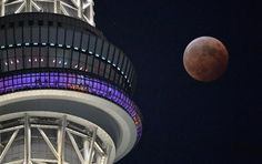 total eclipse and TOKYO Sky Tree.  2014.10.08.  Tokyo, Japan