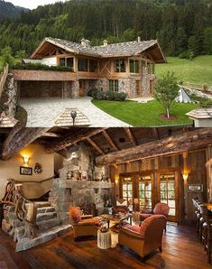 Beautiful stone and wood work Log Homes, Building A House, Stone Cabin, Log Cabins, Forest House, Woodworking Plans, Woodworking Projects, Amazing Places, Log Home Designs