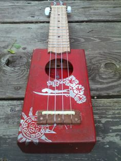 hand made, hand painted, cigar box ukulele with solid cedar sound board, ready to ship!