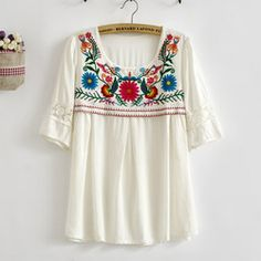 Online Shop Vintage 70s bohemian Mexican Retro Crochet BIG Floral Embroidered LOOSE Lace top White Cotton Blouse Womens blusa Free Shipping|Aliexpress Mobile