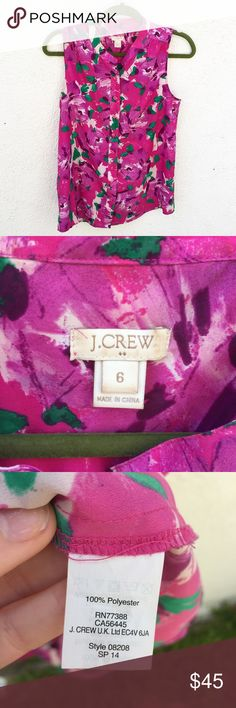J. Crew Pink Floral Sleeveless Blouse Size 6. There's a small stain on the inside tag. J. Crew Tops Blouses