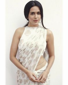 Beauty in Saree | White saare & blouse indian fashion