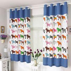 Rideaux chambre enfant à motif de chevaux