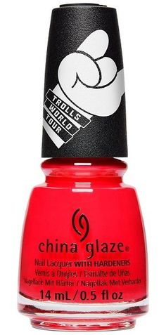 China Glaze Nail Polish, No-Holds Barb, fl. Coral red jelly/creme nail color with pink undertones. China Glaze Trolls World Tour Collection, Spring China Glaze Nail Polish, Opi Nail Polish, Nails, Nail Hardener, Red Jelly, China Clay, New China, Color Club, Nail Treatment