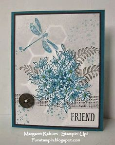 Fun Stampin with Margaret!  CCMC360  Awesomely Artistic set; Island Indigo, Smokey Slate, Chocolate Chip.