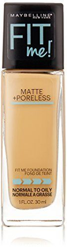Maybelline New York Fit Me Matte Plus Poreless Foundation Makeup, Natural Beige, 1 Fluid Ounce