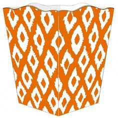 THE WELL APPOINTED HOUSE - Luxury Home Decor- Orange Grande Ikat Wastebasket with Optional Tissue Box