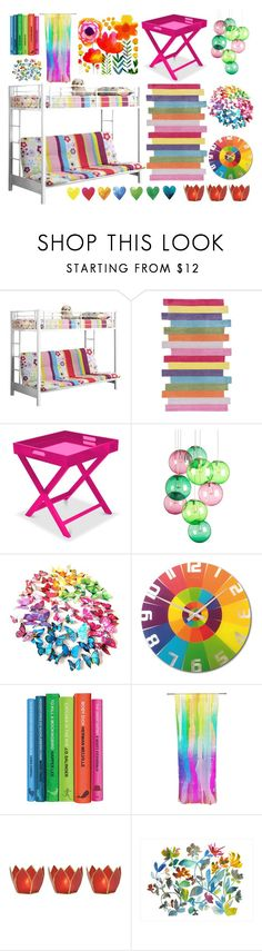 """""""Rainbow"""" by paperandpen ❤ liked on Polyvore featuring interior, interiors, interior design, home, home decor, interior decorating, Walker Edison, nuLOOM, Fatboy and NeXtime"""