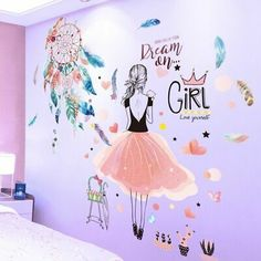 Cartoon Girl Wall Stickers Vinyl DIY Dreamcatcher Feathers Mural Decals for Kids Rooms Baby Bedroom Home Decoration Girls Wall Stickers, Vinyl Wall Stickers, Art Wall Kids, Art For Kids, Wall Painting Decor, Wall Paintings, Wall Decor, Feather Wall Art, Feather Dream Catcher