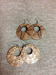 Wood burned earrings, pyrography
