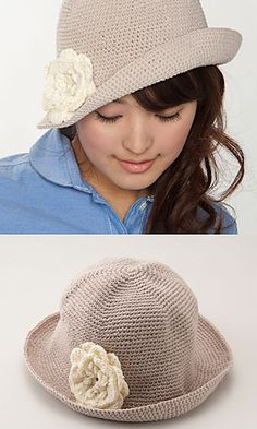 Ravelry: Silhouette Hat with Corsage pattern by Pierrot (Gosyo Co., Ltd)