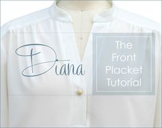 Inserting a front placket can be challenging. It definitely requires intermediate to advanced sewing skills but with practice and patience anyone can achieve a professional looking placket. I suggest doing a trial run (or two) if this technique is new to you. Here is the method used to insert the front placket into the Diana blouse pattern.