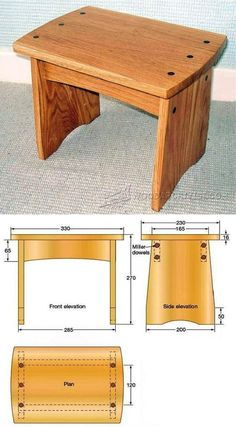 Dowelled Footstool Plans - Furniture Plans and Projects | WoodArchivist.com #woodworkingtips #woodworkingprojects