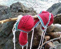 crochet bikini Watermelon - Bikini Crochet beachwear Crochet swimwear String bikini Triangle bikini Red bikini