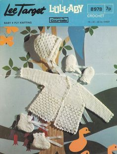 Lee Target 8978 baby crochet matinee coat set by Ellisadine