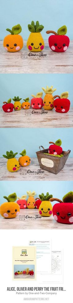 Alice, Oliver And Perry The Fruit Friends Amigurumi Pattern