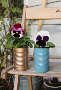 Soup Can Flower Pots  Kids love having something of their own that they made! Great grandparent gifts.      - 52 Weeks Project