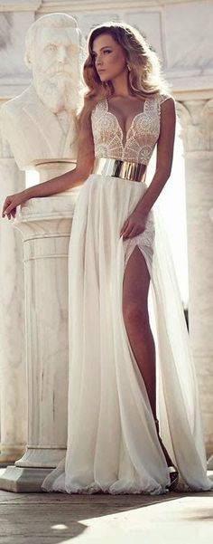 Stunning White Dress with Golden Belt. Would totally wear this as a wedding dress.