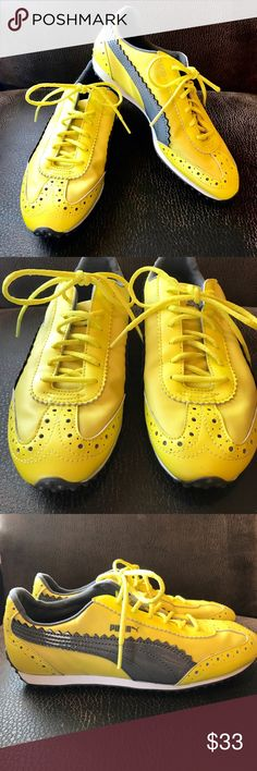 Puma Bright Yellow Grey Patent Sport Lifestyle A fun pop of color for summer!  Sport lifestyle shoes by Puma in a bright yellow with grey patent accents. Labeled as a size women's 8. In excellent pre-loved condition.   ✅ Offers  ✅ Bundle discounts  🚫 Trades Puma Shoes Athletic Shoes