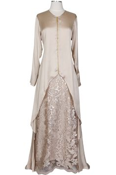 Beige Silky Satin Hi-low with Gold Zipper - SIERRA - Abaya Addict