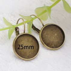 100pcs 8mm-20mm Cameo Glass Cabochon DIY Bronze Silver Plated Brass Earring Hooks Blanks Bezels French Lever Earring Base Backs