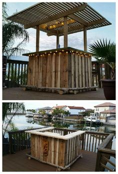 #Garden, #Outdoor, #PalletBar, #RecycledPallet I built this pallet tiki bar with three pallets as the base and eventually added the pergola top for shade and also to attach some string lights.