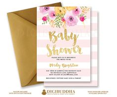 Pink Stripes Baby Shower Invitation Gold Glitter Painterly Watercolor  Flowers Baby Girl Modern FREE PRIORITY SHIPPING Or DiY Printable  Mady