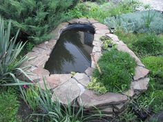 cheap yard decorations, ponds and planters made with bathtubs