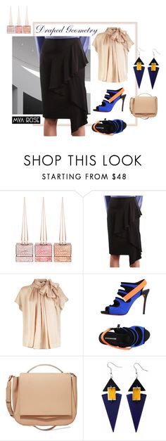 """""""Draped Geometry"""" by mya-rose-official ❤ liked on Polyvore featuring Christian Louboutin, Dsquared2, Eddie Borgo, Toolally, contemporary, pencilskirt, asymmetric and asymmetricskirts"""