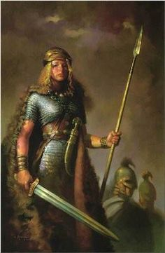 Hervor the shield maiden .....Hervor was born after her father Angantyr's death (he died during a duel against the Swedish hero Hjalmar), and she grew up as a slave. She dressed like a man, fought, killed and pillaged under her male surname Hjörvard. When she learned of her father's identity she decided to live as her father and to find Tyrfing, the magic sword.