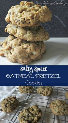 Addicting Salty Sweet Oatmeal Pretzel Cookies - one bite and you will be hooked