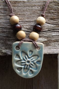 Flower Pendant Single Blossom Ceramic Pendant in by thejoyfulclay, $22.00