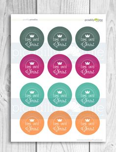 LDS Come Unto Christ 2-inch circles - young women theme 2014,