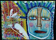 """""""Birth Of Angels"""" by Tracey Ann Finley Mixed Media ~ 18"""" x 24"""""""